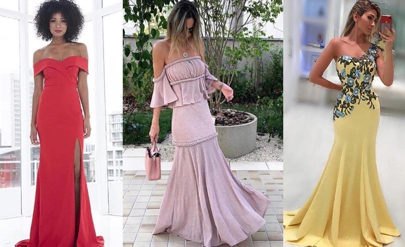 tendências de moda festa 2019 decote cigana